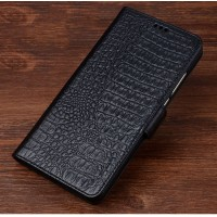 Кожаный чехол портмоне подставка (премиум нат. кожа крокодила) с крепежной застежкой для Lenovo Phab 2 Plus  Черный