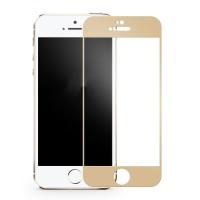 Полноэкранное ультратонкое износоустойчивое сколостойкое олеофобное защитное стекло-пленка для Iphone 5/5s/SE  Бежевый
