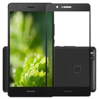 Полноэкранное ультратонкое износоустойчивое сколостойкое олеофобное защитное стекло-пленка для Huawei P9 Lite  Черный