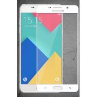 Полноэкранное ультратонкое износоустойчивое сколостойкое олеофобное защитное стекло-пленка для Samsung Galaxy A5 (2016)  Белый
