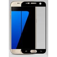 Полноэкранное ультратонкое износоустойчивое сколостойкое олеофобное защитное стекло-пленка для Samsung Galaxy S7  Черный
