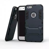 Противоударный двухкомпонентный силиконовый матовый непрозрачный чехол с поликарбонатными вставками экстрим защиты с встроенной ножкой-подставкой для Iphone 5/5s/SE
