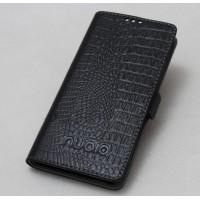 Кожаный чехол горизонтальная книжка подставка текстура Крокодил с крепежной застежкой для ZTE Nubia Z11 Max
