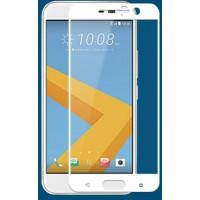 Полноэкранное ультратонкое износоустойчивое сколостойкое олеофобное защитное стекло-пленка для HTC 10  Белый