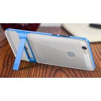 Силиконовый матовый непрозрачный чехол с металлической накладкой и встроенной ножкой-подставкой для Huawei Honor Note 8