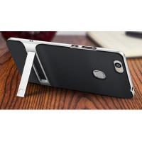 Противоударный двухкомпонентный силиконовый матовый непрозрачный чехол с поликарбонатными вставками экстрим защиты с встроенной ножкой-подставкой для Huawei Honor Note 8  Серый