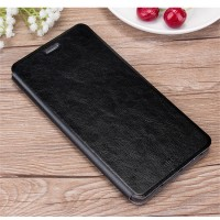 Глянцевый водоотталкивающий чехол горизонтальная книжка подставка на силиконовой основе для Huawei Honor Note 8  Черный
