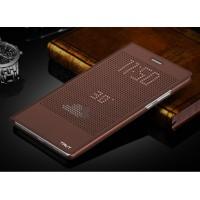 Точечный чехол смарт флип с функциями оповещения для Huawei Honor Note 8 Коричневый