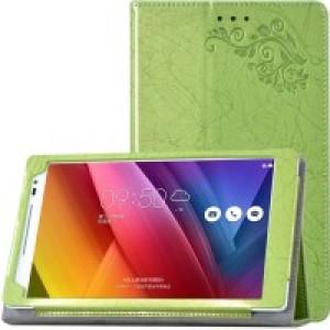 Чехол подставка с рамочной защитой экрана и рельефным эскизом для ASUS ZenPad 8 Зеленый