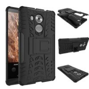 Двухкомпонентный силиконовый чехол с пластиковым бампером и подставкой для Huawei Mate 8 Черный