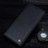 Текстурный кожаный чехол портмоне (нат. кожа) на пластиковой основе для Huawei Mate 8 Черный
