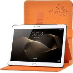 Чехол подставка текстурный на пластиковой основе с магнитной защелкой для Huawei MediaPad M2 10 Оранжевый