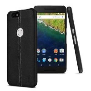 Пластиковый чехол с текстурным покрытием Кожа для Google Huawei Nexus 6P Черный