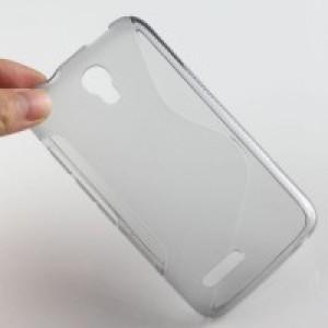 Силиконовый S чехол для Alcatel One Touch Pixi 4 (3.5) Серый