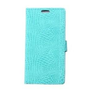 Чехол портмоне подставка с защелкой текстура Крокодил для Alcatel One Touch Pixi 4 (3.5) Голубой