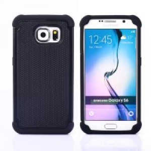 Силиконовый двухкомпонентный чехол экстрим защита для Samsung Galaxy S6 Черный