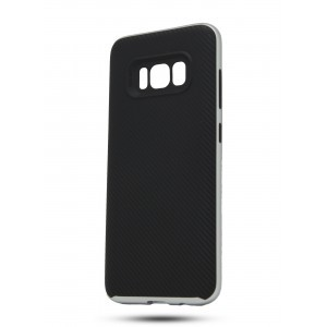 Противоударный двухкомпонентный силиконовый матовый непрозрачный чехол с поликарбонатными вставками экстрим защиты для Samsung Galaxy S8 Белый