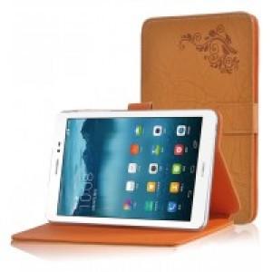 Чехол подставка на поликарбонатной основе с декоративным тиснением для Huawei MediaPad T1 8.0 Оранжевый