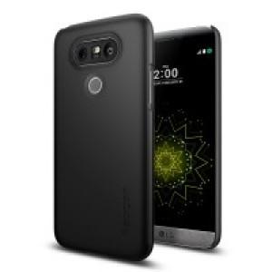 Пластиковый непрозрачный матовый ультратонкий премиум чехол для LG G5 Черный
