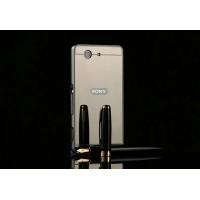 Двухкомпонентный чехол c металлическим бампером с поликарбонатной накладкой и зеркальным покрытием для Sony Xperia Z3 Compact Серый