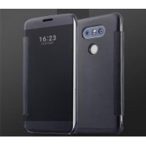 Пластиковый глянцевый чехол с полупрозрачной крышкой с зеркальным покрытием для LG G5 Черный