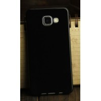 Силиконовый глянцевый непрозрачный чехол для Samsung Galaxy A3 (2016) Черный
