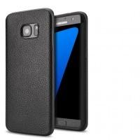 Силиконовый матовый непрозрачный чехол с текстурным покрытием Кожа для Samsung Galaxy S7 Edge Черный