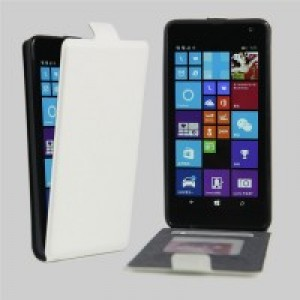 Чехол вертикальная книжка на силиконовой основе с отсеком для карт на магнитной защелке для Microsoft Lumia 535 Белый