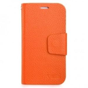 Чехол горизонтальная книжка подставка на пластиковой основе с отсеком для карт на магнитной защелке для Samsung Galaxy Grand Оранжевый