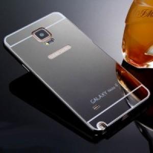 Двухкомпонентный чехол c металлическим бампером с поликарбонатной накладкой и зеркальным покрытием для Samsung Galaxy Note 4 Черный