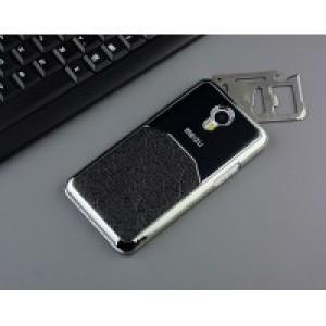 Пластиковый непрозрачный матовый чехол с металлическим напылением для Meizu M2 Note Черный
