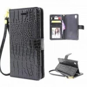 Глянцевый чехол портмоне подставка текстура Крокодил на пластиковой основе на магнитной защелке для Sony Xperia XA Черный