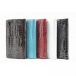 Глянцевый чехол портмоне подставка текстура Крокодил на пластиковой основе на магнитной защелке для Sony Xperia XA