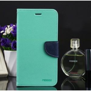 Чехол портмоне подставка на силиконовой основе на дизайнерской магнитной защелке для Samsung Galaxy A5 (2016) Зеленый