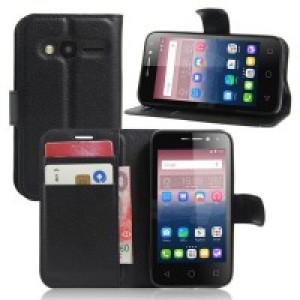 Чехол портмоне подставка на силиконовой основе на магнитной защелке для Alcatel One Touch Pixi 4 (4) Черный