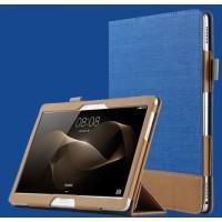 Сегментарный чехол книжка подставка текстура Линии с рамочной защитой экрана, крепежом для стилуса и тканевым покрытием для Lenovo Tab 2 A10 Синий