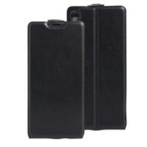 Чехол вертикальная книжка на силиконовой основе с отсеком для карт на магнитной защелке для Sony Xperia XA Черный
