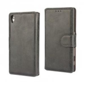 Винтажный чехол портмоне подставка на пластиковой основе на магнитной защелке для Sony Xperia Z5 Черный