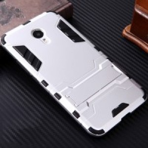 Противоударный двухкомпонентный пластиковый матовый непрозрачный чехол с поликарбонатными вставками экстрим защиты с встроенной ножкой-подставкой для Meizu M3 Note Белый