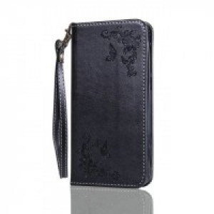 Чехол портмоне подставка текстура Узоры на силиконовой основе для Huawei Honor 5A/Y5 II Черный