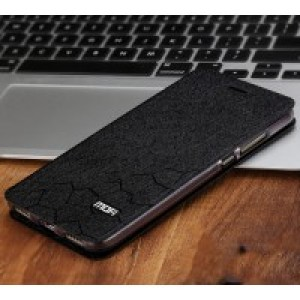 Чехол горизонтальная книжка подставка текстура Соты на силиконовой основе для Huawei Y6II  Черный