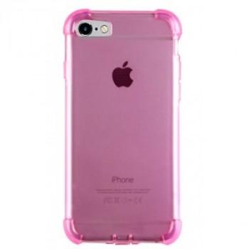 Силиконовый глянцевый полупрозрачный чехол с улучшенной защитой элементов корпуса (заглушки) для Iphone 7/8 Розовый