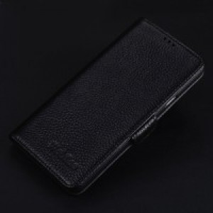 Кожаный чехол портмоне подставка (премиум нат. кожа) с крепежной застежкой для Iphone 7/8 Черный