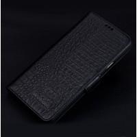Кожаный чехол портмоне подставка (премиум нат. кожа крокодила) с крепежной застежкой для Iphone 7/8 Черный