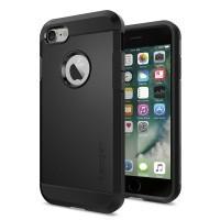 Противоударный двухкомпонентный силиконовый матовый непрозрачный чехол с поликарбонатными вставками экстрим защиты для Iphone 7 Черный