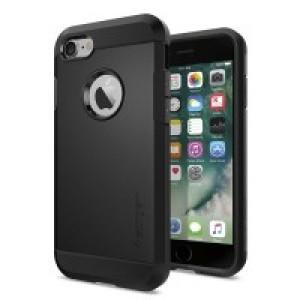 Противоударный двухкомпонентный силиконовый матовый непрозрачный чехол с поликарбонатными вставками экстрим защиты для Iphone 7/8 Черный