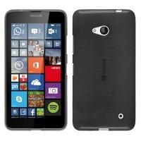 Силиконовый матовый полупрозрачный чехол с текстурным покрытием Металлик для Microsoft Lumia 640  Черный