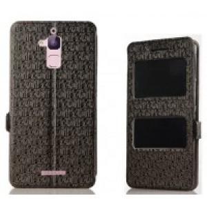 Чехол горизонтальная книжка подставка текстура Узоры на силиконовой основе с окном вызова и свайпом на магнитной защелке для Asus ZenFone 3 Max  Черный