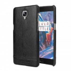 Кожаный чехол накладка (премиум нат. кожа) для OnePlus 3 Черный