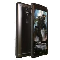 Металлический округлый премиум бампер сборного типа на винтах для OnePlus 3 Черный